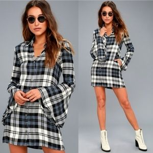 Lulus Tymber White Navy Blue Plaid Shirt Dress S
